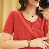 針織上衣 新款棉麻針織短袖v領T恤女素色寬鬆顯瘦純棉大碼上衣亞麻半袖衫 韓國時尚週 免運
