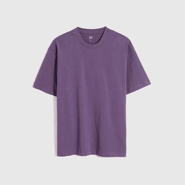 Gap男裝 厚磅密織系列碳素軟磨基本款素色短袖T恤 735900-紫色