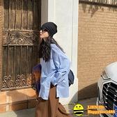 白色襯衫女長袖設計感寬鬆上衣春秋港風復古鹽系藍色襯衣【happybee】