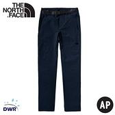 【The North Face 女 彈性防潑水長褲(附腰帶)《深藍》】4UBD/戶外徒步褲/休閒長褲/登山褲/運動褲