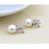 耳環 925純銀 鑲鑽-個性珍珠情人節生日禮物女飾品2色73hz48【時尚巴黎】