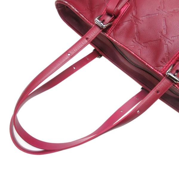 LONGCHAMP 紅色牛皮LOGO壓紋手提肩背托特包 【二手名牌 BRAND OFF】