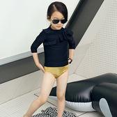 兒童泳裝 簡約 斜花邊 清新 兩件套 長袖 兒童泳裝【TF17107】 ENTER  08/31