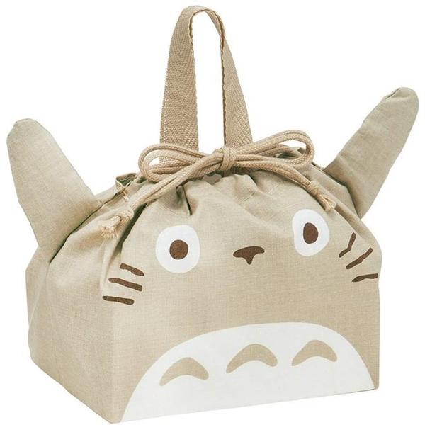 小禮堂 龍貓 日本製 棉質束口便當袋 (灰大臉款) 4973307-49752
