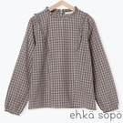 「Winter」荷葉摺邊格紋純棉長袖上衣 (提醒 SM2僅單一尺寸) - Sm2