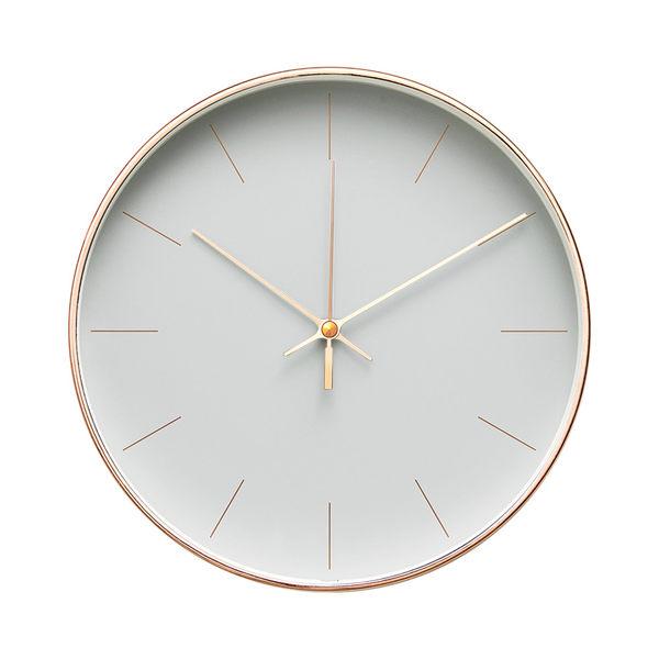 Lovel 25cm 簡約玫瑰金框靜音時鐘-淡漠霧灰(T722GR-RG)