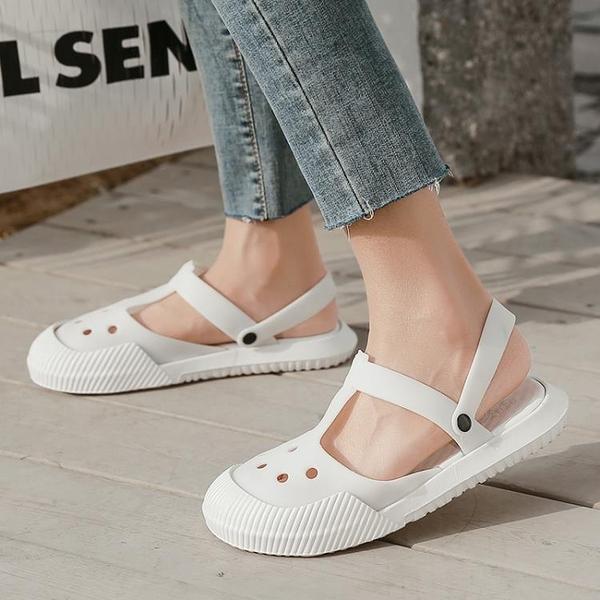 拖鞋女外穿夏天網紅時尚百搭沙灘防滑包頭半拖洞洞鞋女ins潮夏季