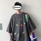 短袖t恤男卡通半袖寬鬆港風上衣夏季五分袖衣服男潮流體恤