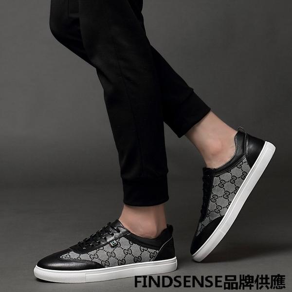 FINDSENSE品牌 四季款 新款 日本 情侶 高品質 真皮 舒適透氣 時尚