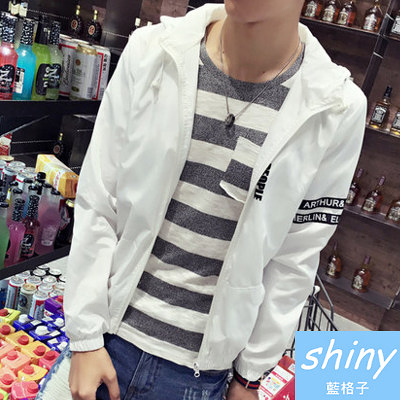 【Y127】shiny藍格子-簡約出眾.春秋韓版字母薄款休閒連帽長袖外套