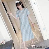 韓版睡衣女夏短袖全棉可愛條紋睡裙女