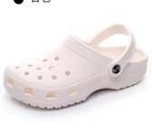 夏季軟底洞洞鞋女平跟拖鞋防滑涼拖鞋女厚底果凍涼鞋男海邊沙灘鞋