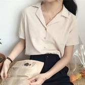 夏季韓版氣質百搭西裝領雪紡短袖襯衫上衣純色襯衣學生女裝潮      芊惠衣屋