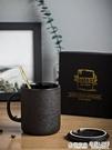 ezicok辦公室泡茶杯陶瓷馬克杯帶蓋勺...