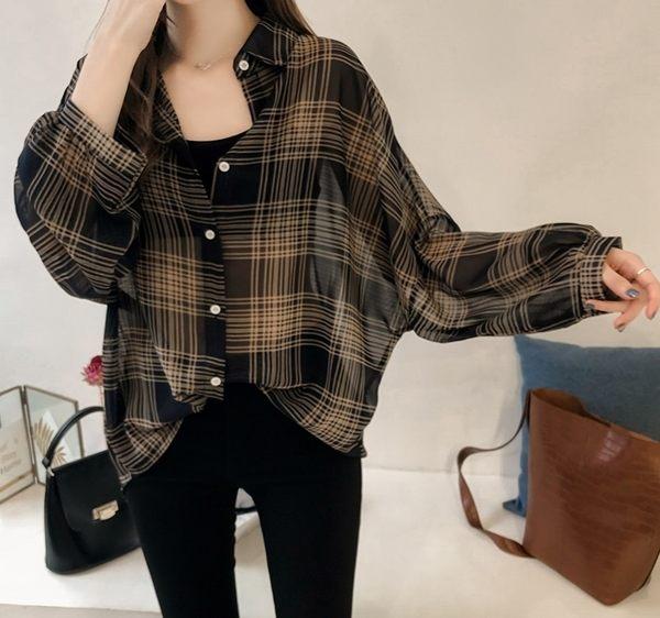 DE shop - BF格子長袖襯衫 - XA-6288