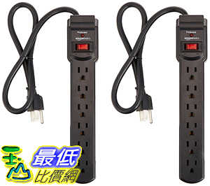 [106美國直購] AmazonBasics 6-Outlet 插座 Surge Protector Power Strip 2-Pack, 200 Joule - Black
