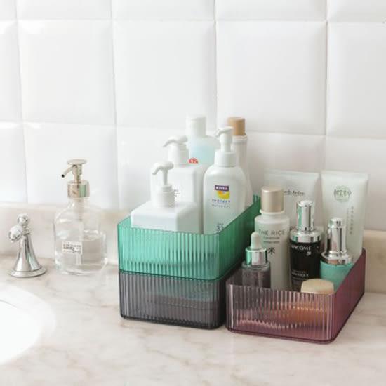 ♚MY COLOR♚透明立體紋路長方收納盒 書桌 整理盒 桌面 塑料盒子 梳妝台 化妝品 浴室【N460】