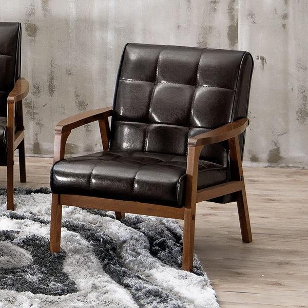 【森可家居】瓦爾德休閒沙發單人椅 7CM196-5 實木 皮沙發 一人座位 LOFT復古工業風