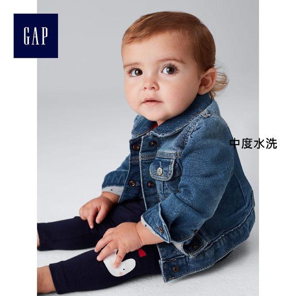 Gap女嬰兒 復古風格加厚長袖內襯牛仔夾克 327271-中度水洗