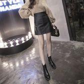 黑色小皮裙女新款高腰包臀裙子半身裙女一步裙a字裙短裙 錢夫人小鋪