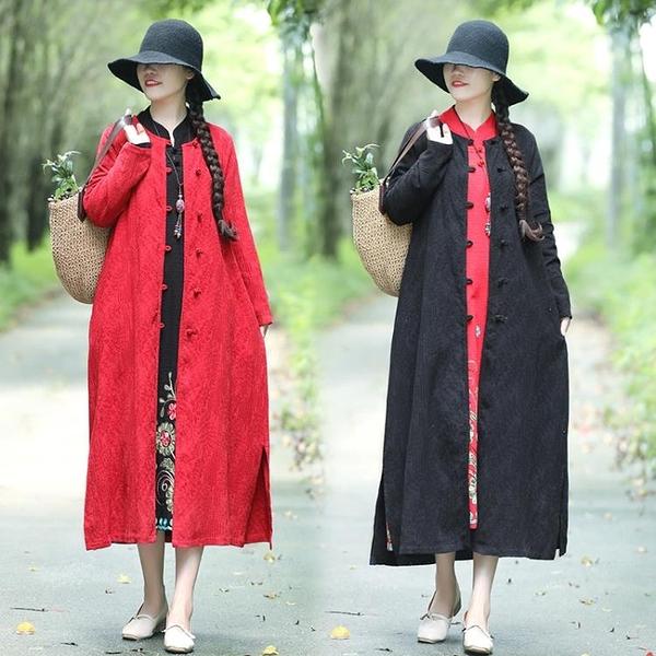 秋季中國風禪服中長款復古盤扣寬鬆顯瘦棉麻開衫文藝禪意袍子洋裝 萬聖節鉅惠