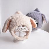 韓版可愛兔耳朵幼嬰兒童男女寶寶護耳套頭帽子秋冬季保暖潮針織帽