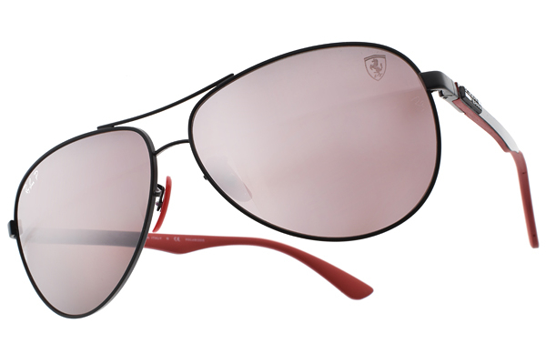 RayBan 太陽眼鏡 RB8313M F002H2 (黑紅-淡白水銀紅鏡片) 法拉利聯名款 # 金橘眼鏡