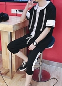 夏季2019新款男士短袖t恤休閒運動套裝男裝韓版潮流衣服男裝夏裝