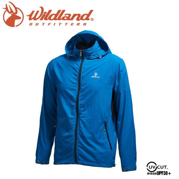 【Wildland 荒野 男 N66彈性透氣抗UV外套《土耳其藍》】0A71902/連帽防曬/運動休閒/夾克/彈性延展/輕薄