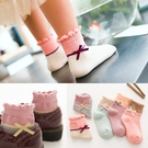女童襪子 秋冬保暖蝴蝶結設計兒童中筒襪