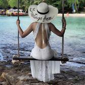 吊帶露背沙灘裙海邊度假鏤空掛脖裙子心機性感白色蕾絲連身裙長裙  良品鋪子