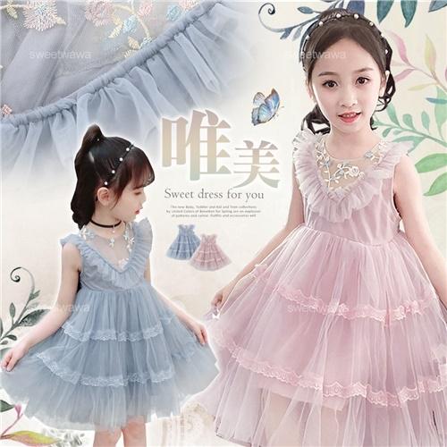 甜美繡花朵網紗背心洋裝小禮服-畢業典禮音樂會比賽-2色(270668)【水娃娃時尚童裝】