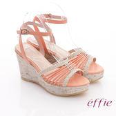 effie 輕音躍 全真皮編織條帶楔型涼鞋 橘色