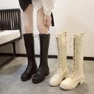 2021秋冬季新款中筒長筒高筒加絨馬丁百搭女鞋騎士瘦瘦不過膝長靴 貝芙莉