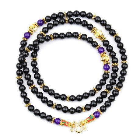 黑瑪瑙配紫玉石手鏈 佛牌項鏈