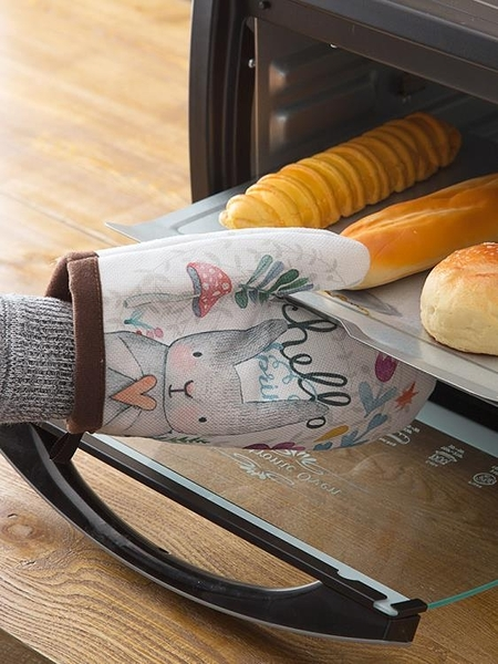 兔子加厚烤箱專用隔熱防燙手套廚房家用耐高溫微波爐烘焙防熱手套【618店長推薦】
