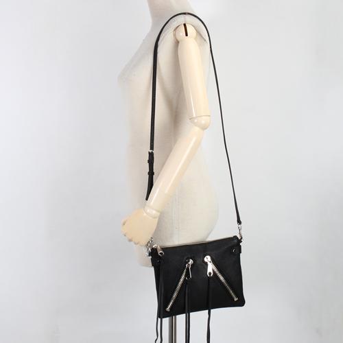 Rebecca Minkoff moto皮革流蘇裝飾拉鍊斜背包(黑色)220042