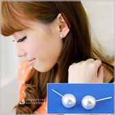 珠圓潤澤 絕對經典珍珠貼耳耳環 925純銀耳環 - 維克維娜