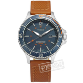 TIMEX 天美時 / TXTW4B15000 / 遠征系列 太陽能電力 礦石強化玻璃 日期視窗 真皮手錶 藍x駝 43mm