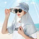 遮陽帽遮臉遮陽防曬大沿太陽帽子出遊戶外騎電動車防紫外線面紗女