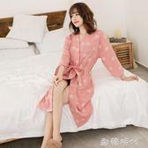 純棉紗布睡袍浴袍春夏薄男女情侶吸水浴衣日式透氣汗蒸服 歐韓時代