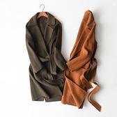 毛呢大衣-羊毛直筒綁帶顯瘦設計女外套2色73op29[巴黎精品]
