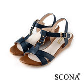 SCONA 蘇格南 全真皮 簡約舒適交叉楔型涼鞋 藍色 22728-2