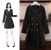 時尚長袖中大尺碼L-4XL/1908大碼女裝胖mm新款顯瘦連身裙減齡赫本中長款復古小黑裙F4109依品國際