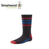 【美國 SmartWool 童健行輕量避震條紋中長襪《炭黑》】SW001098/保暖/戶外/運動襪