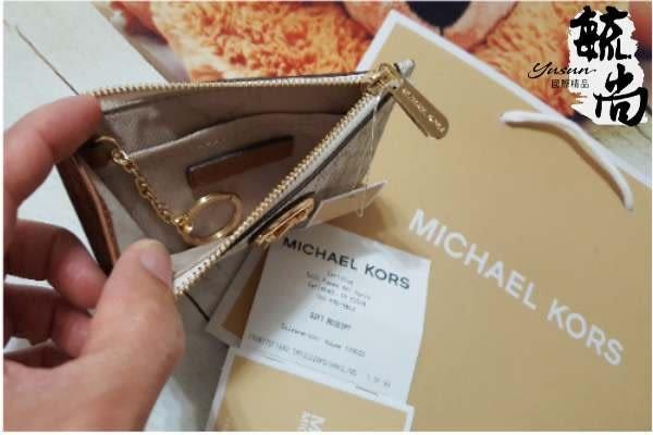 MICHAEL KORS ADELE 鎖頭造型設計 金色MK LOGO鑰匙環零錢象牙白 $1650