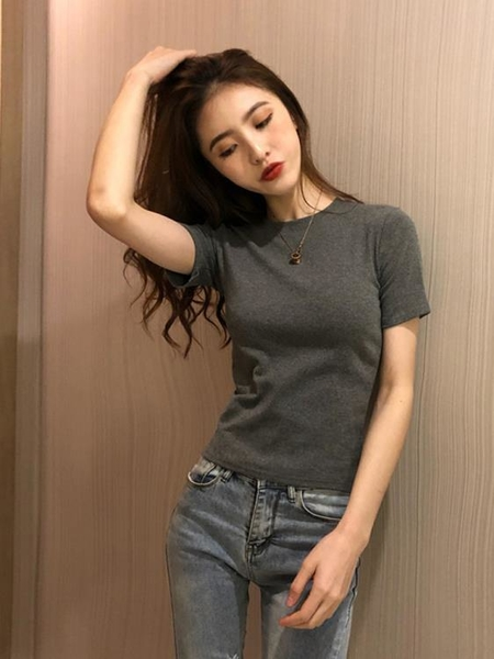 圓領衣服夏季新款韓版修身顯瘦辣妹穿搭上衣灰色短袖