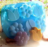 心動小羊6 連鬱金香花形皂模, 皂、蛋糕模、耐高溫、巧克力