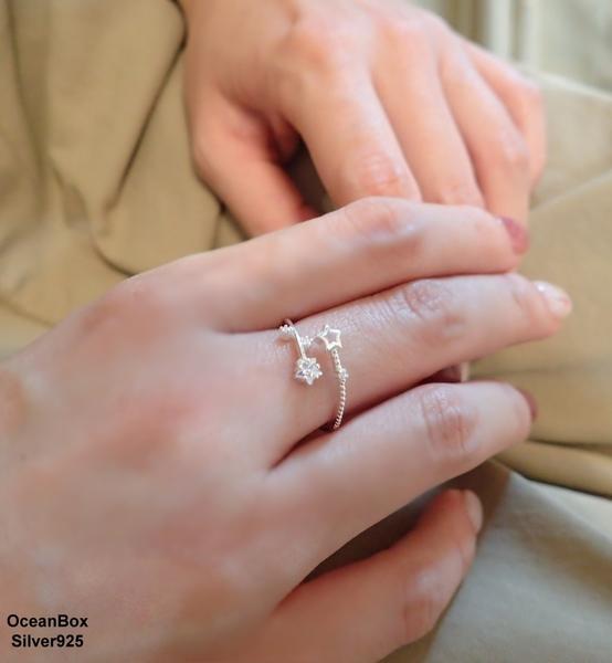 §海洋盒子§俏皮可愛眾星閃爍鋯石925純銀戒指.可調整戒圍