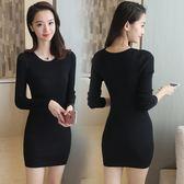洋裝 7韓國修身長袖中長款毛衣加厚針織連身裙女包臀打底裙 米蘭街頭